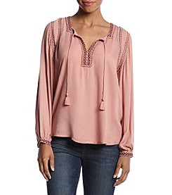 Lucky Brand® Embellished Peasant Top
