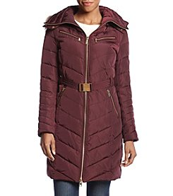 MICHAEL Michael Kors® Belt Faux Fur Trim Hood Coat