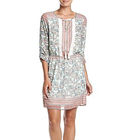 DR2 by Daniel Rainn™ Roll Sleeve Border Print Shirtdress
