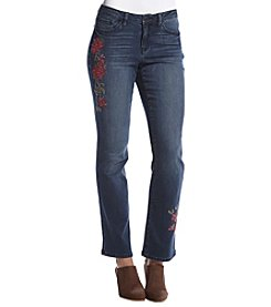 Earl Jean® Floral Design Bootcut Jeans