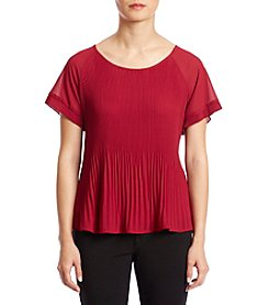 NY Collection Petites' Scoop Neck Pleated Top