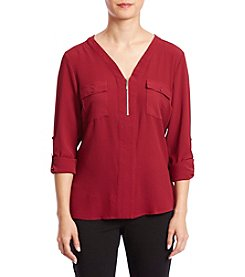 NY Collection Petites' Zip Neckline Top