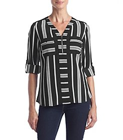 NY Collection Petites' Printed Front Zip Top