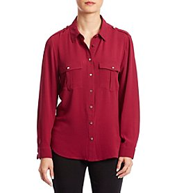 NY Collection Petites' Button Down Top