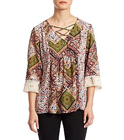 NY Collection Petites' Peasant Style Top