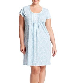 Miss Elaine® Plus Size Tucked Front Printed Knit Nightgown