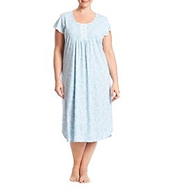 Miss Elaine® Plus Size Tucked Front Long Printed Knit Nightgown