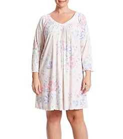 Miss Elaine® Plus Size Long Sleeve Ruffled Nightgown