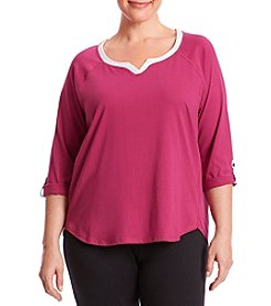 KN Karen Neuburger Plus Size Split Neck Sleep Top
