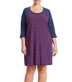 KN Karen Neuburger Plus Size Long Sleeve Striped Sleepshirt