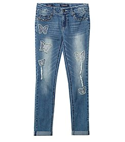Vigoss® Girls' 7-16 Butterfly Destructed Skinny Jeans