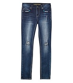 Vigoss® Girls' 7-16 Arrow Destructed Skinny Jeans
