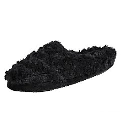 Isotoner Signature® Textured Faux Fur Regina Hoodback Slippers