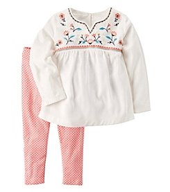 Carter's Baby Girls' 2-Piece Embroidered Babydoll Top and Leggings Set