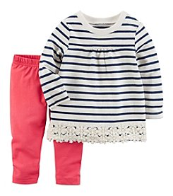 Carter's Baby Girls' 2-Piece Lace Trimmed Top and Leggings Set