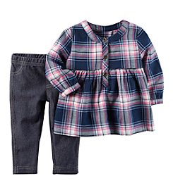 Carter's Baby Girls' 2-Piece Flannel Top and Jeggings Set