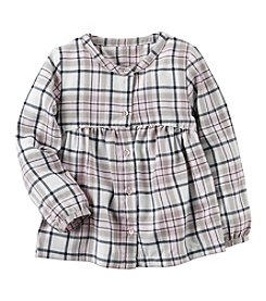 Carter's Baby Girls' 2T-4T Sparkle Plaid Button-Front Shirt