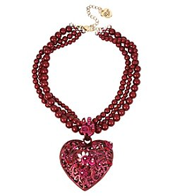 Betsey Johnson® Red Goldtone Heart Pendant Necklace