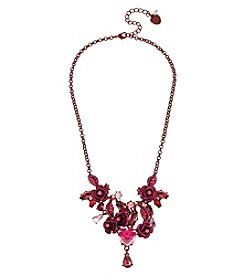 Betsey Johnson® Pink/Red Rose Frontal Necklace