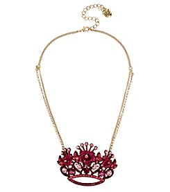 Betsey Johnson® Pink Goldtone Crown Pendant Necklace