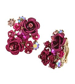 Betsey Johnson® Pink/Goldtone Flower Clip Button Earrings