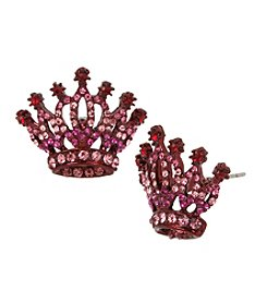 Betsey Johnson® Pink Crown Stud Earrings