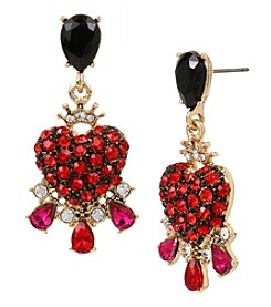 Betsey Johnson® Red and Goldtone Heart Drop Earrings