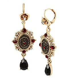 Betsey Johnson® Black and Goldtone Double Drop Earrings