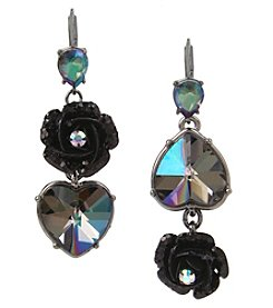 Betsey Johnson® Black and Hematite Heart Mismatch Earrings