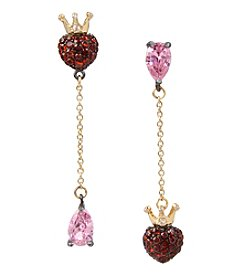 Betsey Johnson® Pink and Goldtone Heart Mismatch Earrings