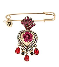 Betsey Johnson® Red Goldtone Heart Pin