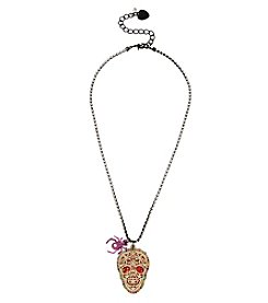 Betsey Johnson® Two-Tone Skull Pendant Necklace