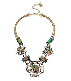 Betsey Johnson® Goldtone Multicolor Spider Frontal Necklace