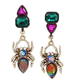 Betsey Johnson® Multicolor/Two-Tone Spider Mismatch Earrings
