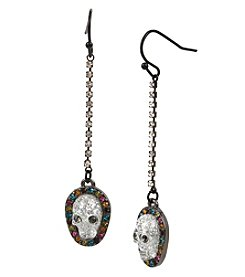 Betsey Johnson® Hematite Skull Linear Earrings