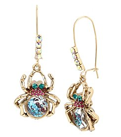 Betsey Johnson® Multicolor/Goldtone Spider Drop Earrings