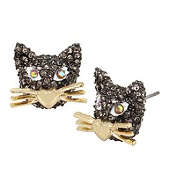 Betsey Johnson® Goldtone and Hematite Cat Stud Earrings
