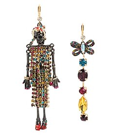 Betsey Johnson® Goldtone and Hematite Skeleton Mismatch Earrings