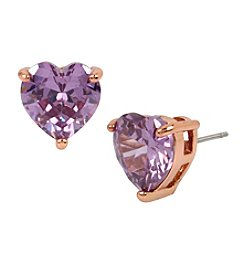 Betsey Johnson® Purple and Rose Goldtone Cubic Zirconia Heart Stud Earrings