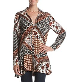 Philosophy by Republic Clothing Abstract Print Ruffle Tunic