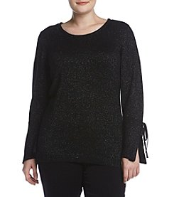 AGB Sparkle Detail Bell Sleeve Sweater
