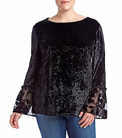 Adiva Plus Size Crushed Velvet Sheer Floral Bell Sleeve Top