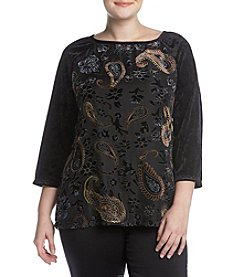Adiva Plus Size Paisley Floral Velvet Burnout Top