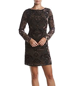 Vince Camuto® Velvet Abstract Floral Pattern Dress