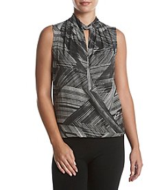 Kenneth Cole New York Faux Wrap Mockneck Blouse