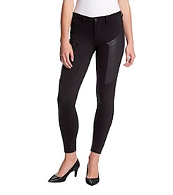 Boom Boom Faux Leather Zipper Detail Leggings