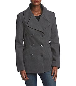 Rampage Solid Charcoal Grey Notch Collar Button Up Coat