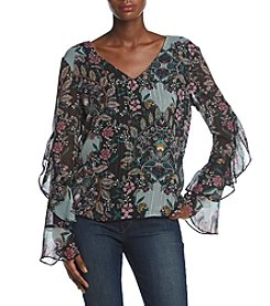 A. Byer V-Neck Ruffle Sleeve Floral Print Top