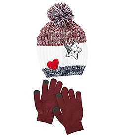 Miss Attitude Girls' 7-16 Patch Heart Star Hat And Gloves Set