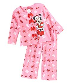 Disney® Girls' 2T-4T Oh Minnie Mouse® Coatfront Pajama Set